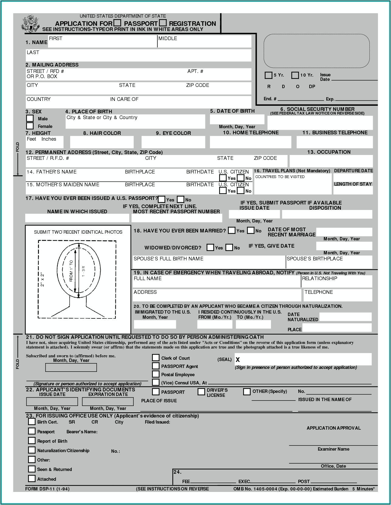 United States Passport Renewal Forms Form Resume